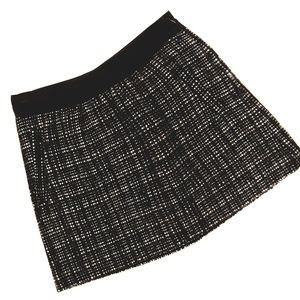 J. Crew Black and White Plaid Wool Mini Skirt